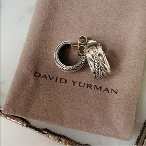 David Yurman Jewelry - David Yurman Crossover Huggie Hoop Earrings 15mm